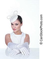 женщина, glowes, элегантный, загадочный, белый, шапка