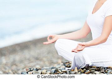 женщина, meditating, пляж, йога, рука, поза