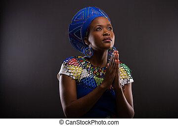 женщина, praying, молодой, африканец