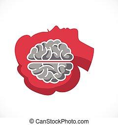 женщина, profile, психология, головной мозг, created, концепция, вектор, или, логотип, умственный, психоанализ, psychotherapy., здоровье, концепция, значок, лицо, анализ, анатомический, человек, внутри