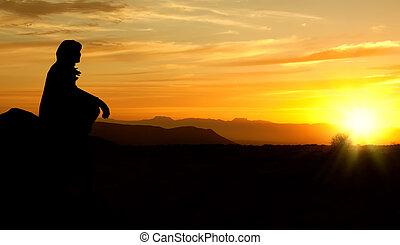 женщина, rectified, закат солнца, edges, грубый, силуэт