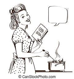 женщина, room., ретро, суп, молодой, иллюстрация, isolated, вектор, графический, готовка, кухня, ее, белый