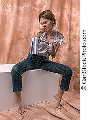 женщина, ropes, молодой, приятный, untie, сдачи, efforts