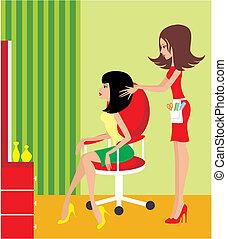 женщина, salon., красота