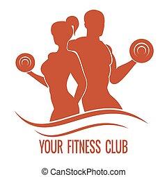 женщина, silhouettes, muscled, фитнес, логотип, человек