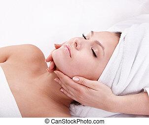женщина, spa., молодой, лицевой, massage.