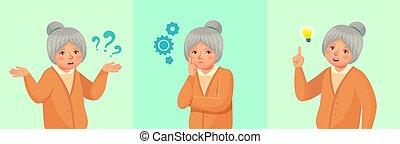 женщина, thinking., вспомнил, старшая, вопрос, смущенный, иллюстрация, или, бабушка, решена, вдумчивый, вектор, ответ, старшая, женский пол, мультфильм