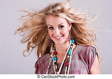 женщина, wind., isolated, молодой, волосы, blowing