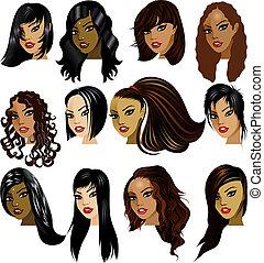 женщины, брюнетка, faces