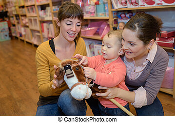 женщины, игрушка, магазин, buying, toys