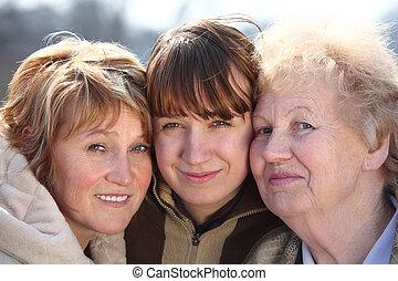 женщины, поколения, портрет, один, семья, три