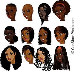 женщины, черный, faces