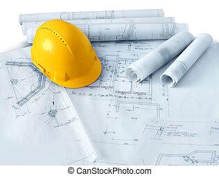 жесткий, строительство, шапка, plans