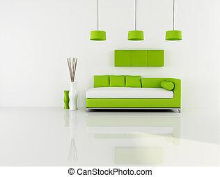 живой, белый, зеленый, комната