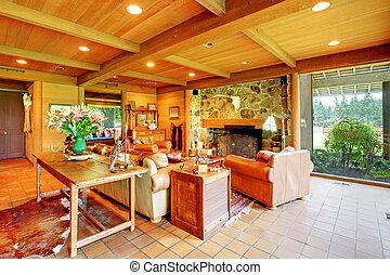 живой, лошадь, комната, ранчо, kitchen., большой