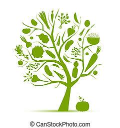 жизнь, здоровый, дерево, vegetables, -, зеленый, дизайн, ваш