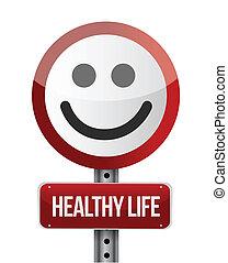 жизнь, здоровый, иллюстрация, знак, дизайн, дорога