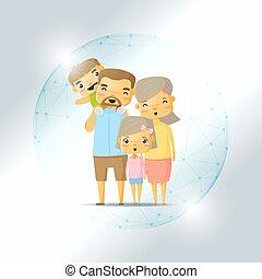 жизнь, концепция, щит, семья, полигональный, сфера, защищенный, страхование, счастливый