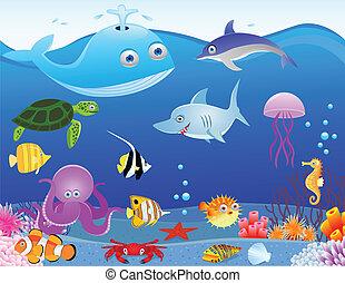 жизнь, море, мультфильм, задний план