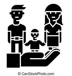 жизнь, семья, иллюстрация, защита, -, isolated, знак, вектор, черный, задний план, значок, страхование