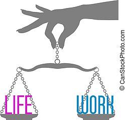 жизнь, scales, работа, рука, человек, баланс