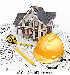 жилой, архитектор, blueprints., инструменты, дом