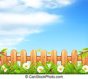 забор, деревянный, весна, задний план, вектор, трава