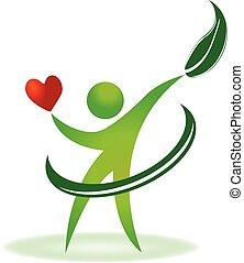 забота, логотип, здоровье, сердце, природа