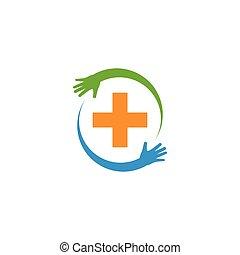 забота, медицинская, логотип, здоровье