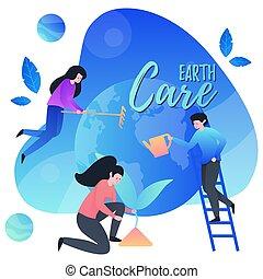 забота, earth., наш, люди, planet., счастливый, спасти, люблю, около, day., земля