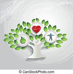 забота, symbols, концепция, здоровье, человек, дерево, здоровый