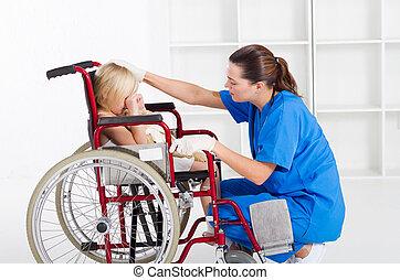 заботливая, медицинская, работник