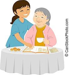 заботливая, elders, улыбка