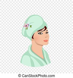 заворачивать, полотенце, глава, женщина, халат, ванна, чалма
