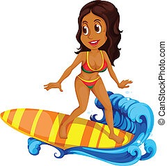 загар, серфинг, девушка