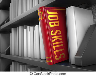 заглавие, навыки, -, book., работа, красный