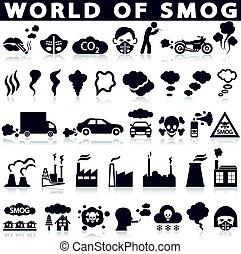 загрязнение, смог, задавать, icons