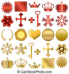 задавать, дизайн, ornaments, золото, красный