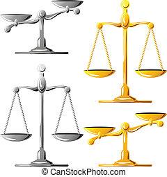 задавать, золото, scales, справедливость, вектор, серебряный