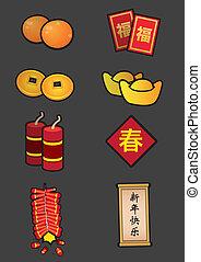 задавать, китайский, символический, украшение, год, новый, значок
