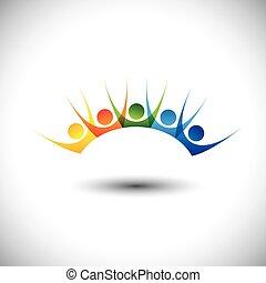 задавать, красочный, люди, &, в восторге, весело, enjoying, having, счастливый