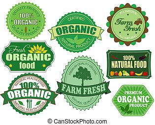 задавать, органический, ферма, labels, питание, свежий, badges
