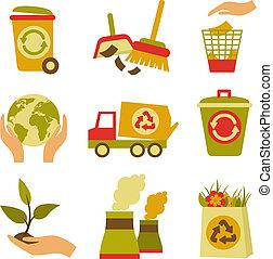 задавать, отходы, экология, значок