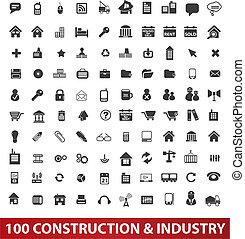 &, задавать, промышленность, icons, вектор, строительство, 100, архитектура