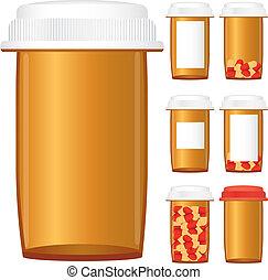 задавать, рецепт, isolated, иллюстрация, задний план, вектор, лекарственное средство, bottles, белый
