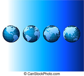 задавать, серии, глобальный, -, вектор, мир