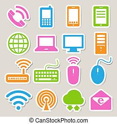 задавать, сеть, мобильный, devices, компьютер, connections., значок