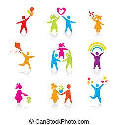 задавать, силуэт, люди, дитя, человек, icons, -, symbol., мальчик, женщина, девушка, parents, отец, vector., family., мама, ребенок