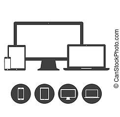 задавать, таблетка, icons, мобильный, phones, дисплей, портативный компьютер, шаблон, устройство, электронный