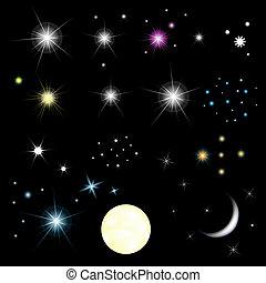 задавать, число звезд:, луна